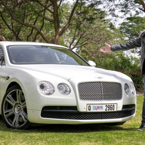White Bentley Flying Spur Hire: Car List Thumbnail Left Sidebar